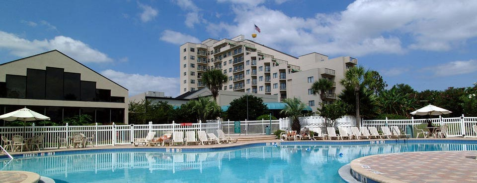 The Enclave Hotel and Suites in Orlando Fl view from Outdoor Pool to the Hotel 960