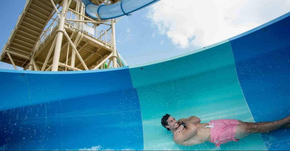 Sudden drop in an enclosed water slide to a funnel at Gaylord Palms Resort 960