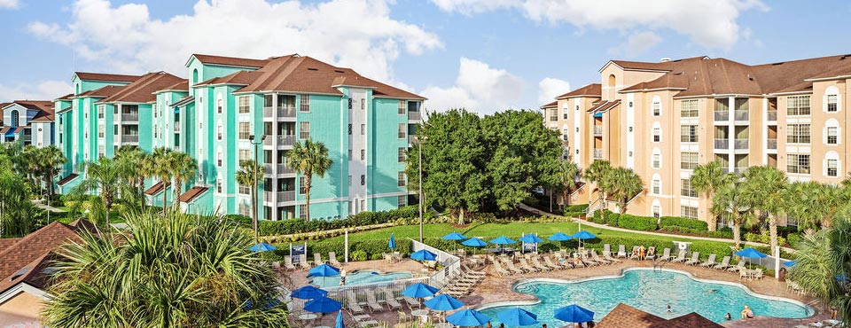 View of the Grande Villas Resort main buildings and pools 960