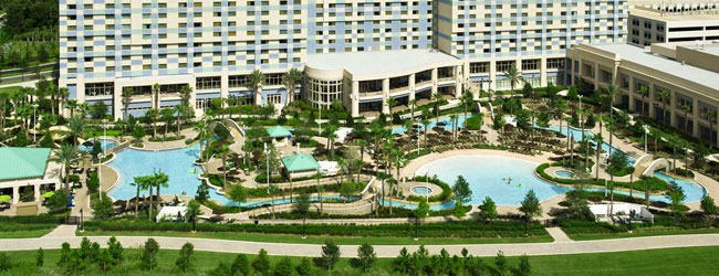 Hilton Orlando Bonnet Creek Water Park Complex with Hotel in the Background wide