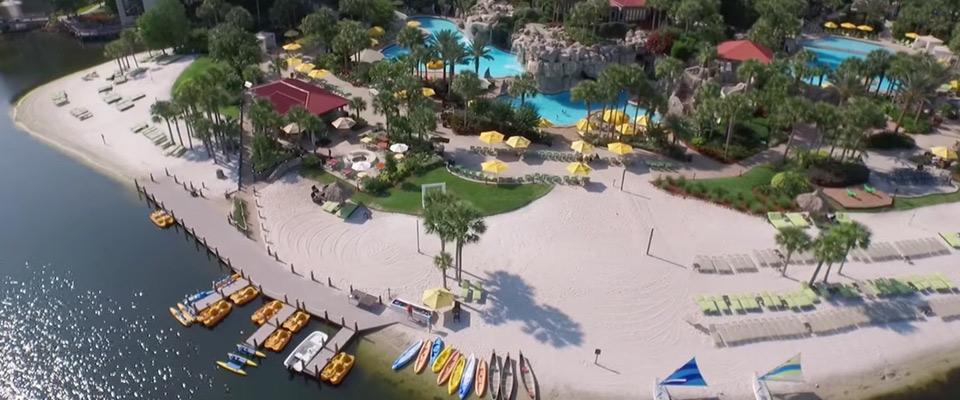Top down view of the Lagoon Pool, Beach, Watercraft at the Hyatt Regency Grand Cypress in Orlando 960