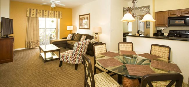 Living room and dining area in the condo at the Lake Buena Vista Village Resort