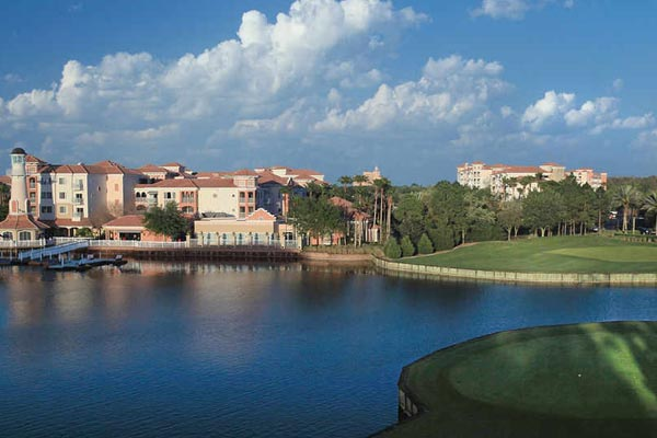 View of the Marriott Grande Vista Resort from the Lake in Orlando Fl 600