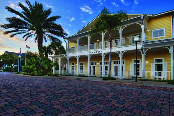 View of the Key House and Brick Streets with Caribbean Touches at the Marriott Harbour Lake Resort in Orlando Fl 600