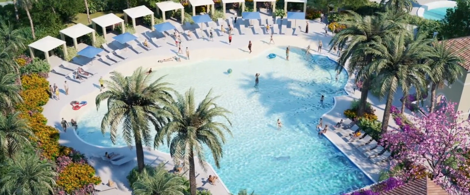 View of the Wave Pool and Cabanas at the Omni Resort in Orlando ChampionsGate 960