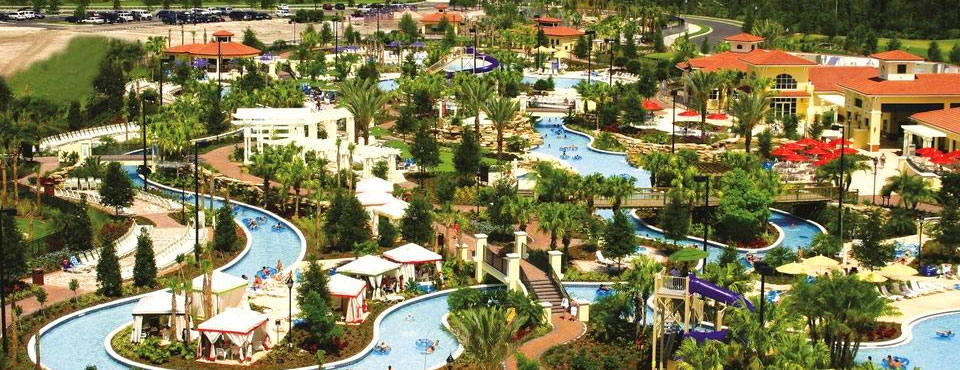 Amazing view of the River Island Water Park with 1200 foot lazy river, zero entry pools Holiday Inn Orange Lake Resort in Kissimmee Fl wide