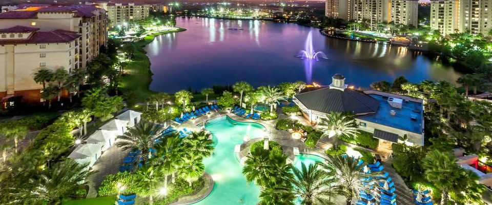 Wyndham Bonnet Creek in Orlando Fl view of pool in the evening overlooking the beauty of the lake 960