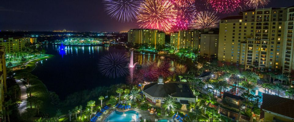 View of the Fireworks across the lake at Disney Epcot from the balcony at the Wyndham Grand Orlando 960