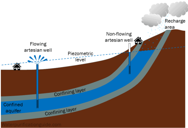 Artesian aquifer between confining layers. Recharge affecting piezometric water level and flowing and non-flowing artesian wells.
