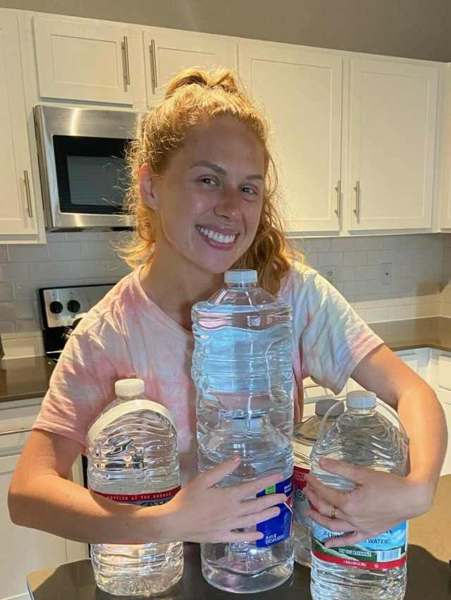 Emelia when she finally got water on Monday!