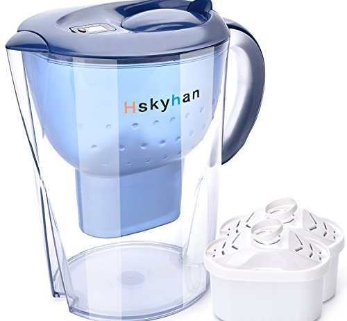 Hskyhan Alkaline Water Pitcher - 3.5 Liters Improve PH, 2 Filters Included, 7 Stage Filteration System To Purify, Blue