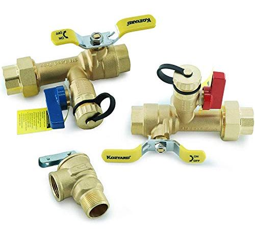 Kozyvacu 3/4-Inch IPS Isolator Tankless Water Heater Service Valve Kit with Clean Brass Construction