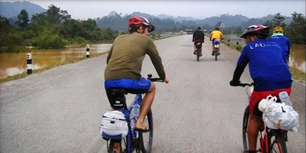 Bicycling through Khammouane Province, Laos.