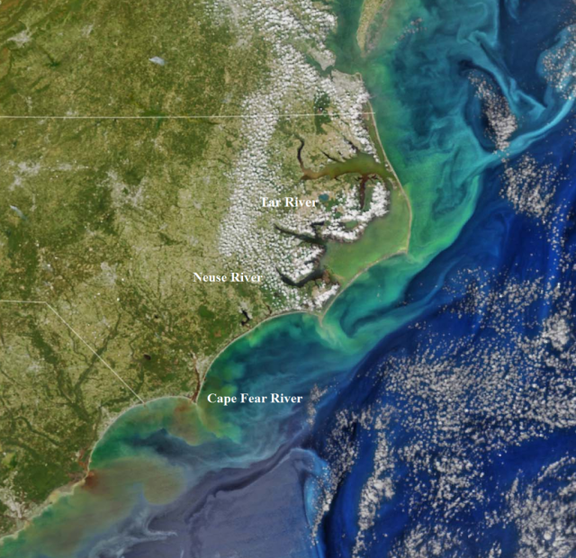 Taken one week after Matthew struck the Carolina Coast, this NASA satellite image shows flows out from our estuaries.. Source NASA (http://www.nasa.gov/image-feature/colors-after-the-storms)