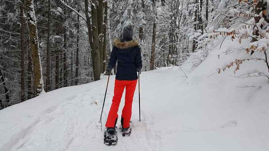 How to snowshoe downhill