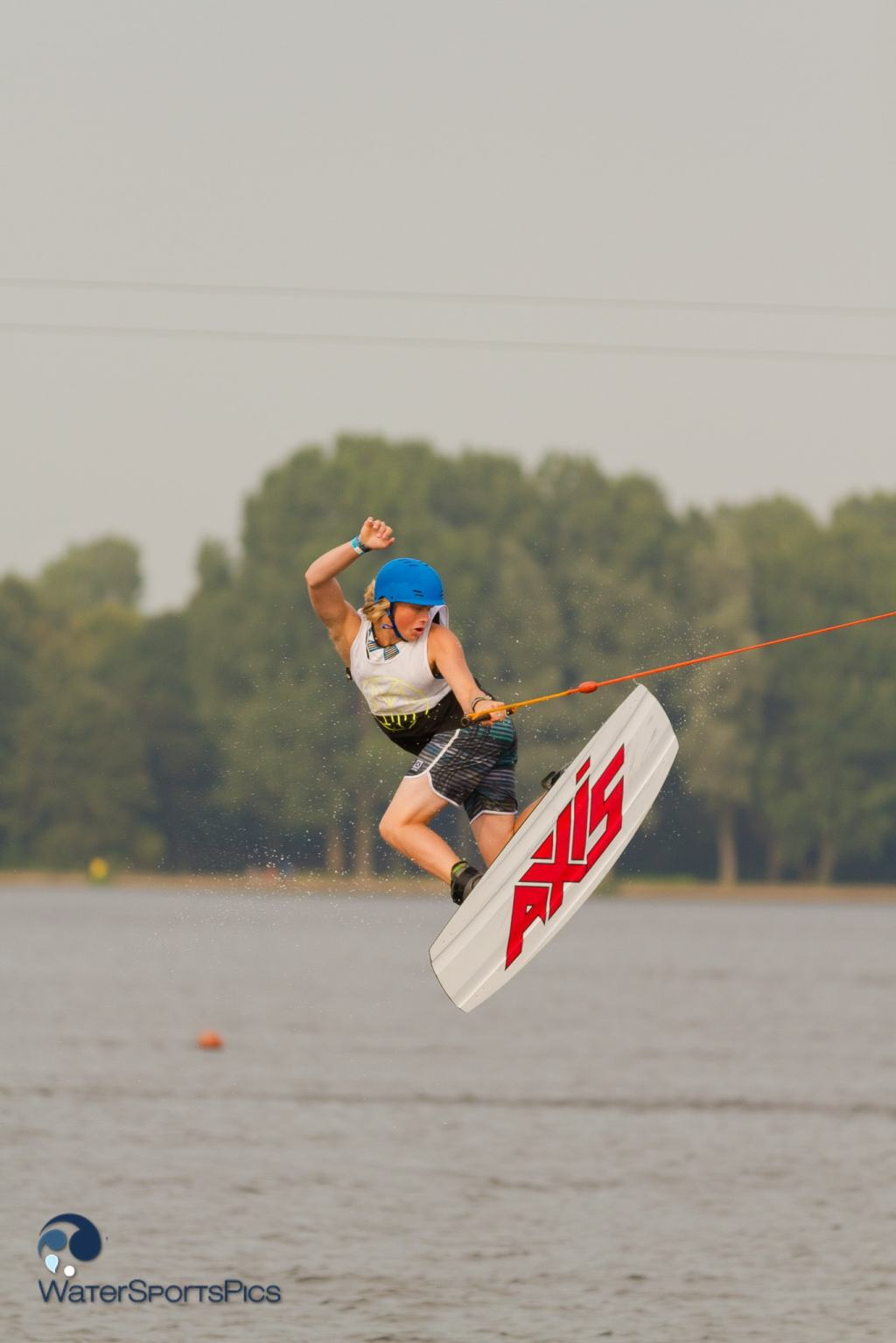 Wakeboarding at Wet 'n Wild, Alphen aan de Rijn, The Netherlands on 27 July  2014.