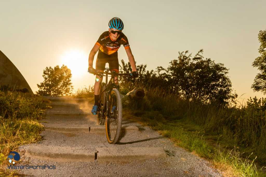 Laurens Keuning at Spaarnwoude, The Netherlands during a sunset mountainbike shoot