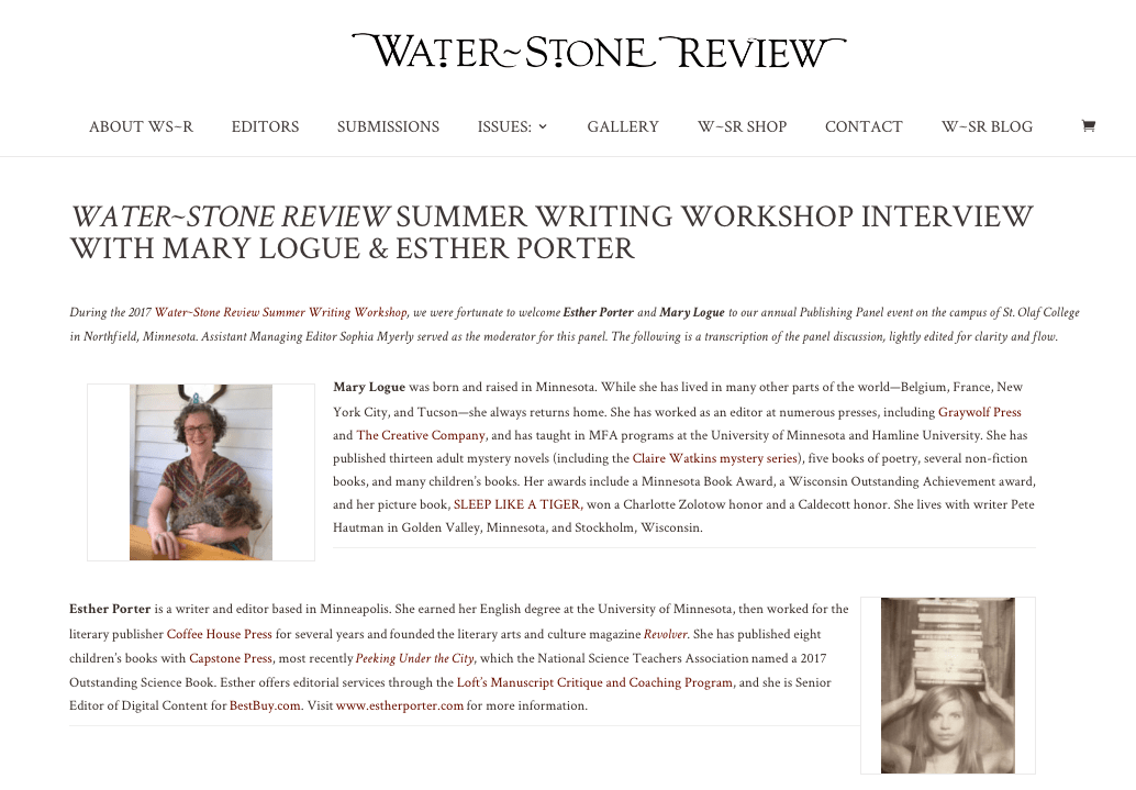 Workshop Interview with Mary Logue & Esther Porter | Water