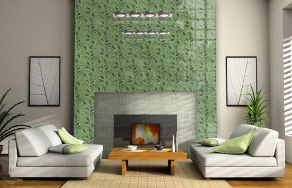 glass tile fireplace