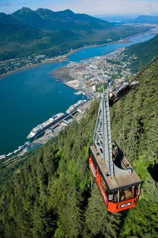 See Juneau, Alaska from 1800 feet with Mt. Roberts Tramway.