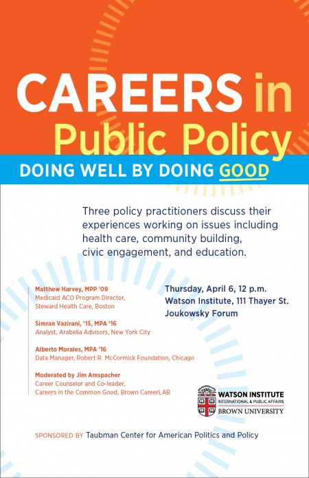 Careers In Public Policy Doing Well By Doing Good Taubman Center For American Politics And Policy