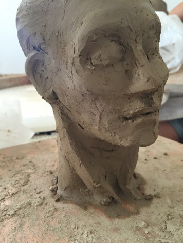 Clay head in workshop