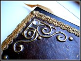 Antique effect leather book.