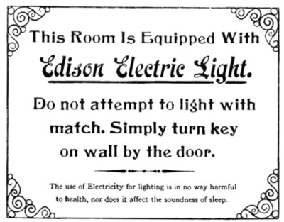 early electric light warning sign