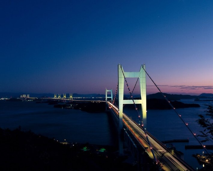 Night view of the Great Seto Bridge