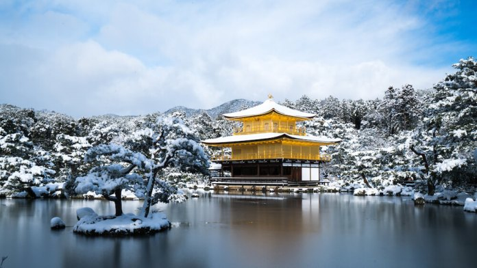 Kinkakuji Temple in Winter Season