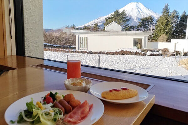 Breakfast is tastier with Mt Fuji in view
