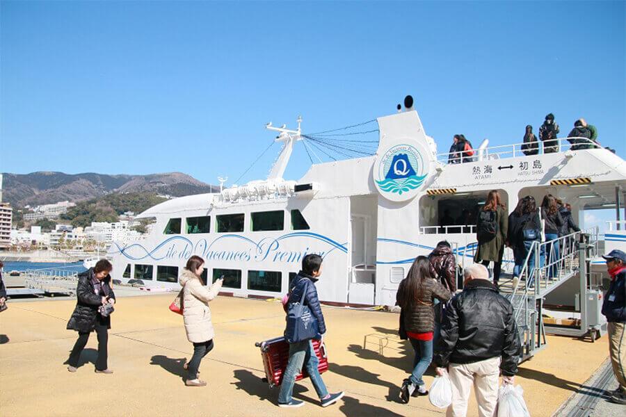Setting sail for Hatsushima from Atami