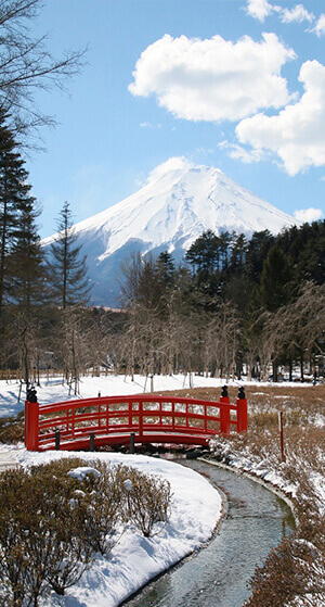 A view of Mt Fuji comes in sight with traditional Japanese garden at Ninja Village