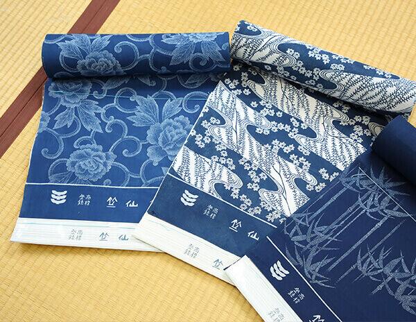 japanese fabric for yukata blue