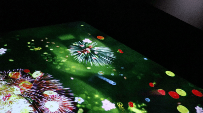 teamLab Borderless slide fireworks