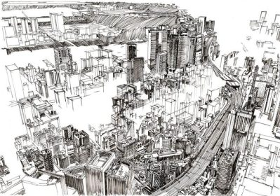 Drawing of Tokyo by Simon Kalajdjiev
