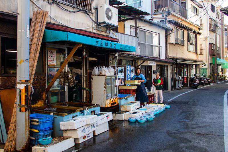 Fishmonger on the Ieshima Island.