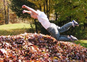 Jumping in Pile of leaves