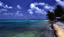A beach at Funafuti atoll, Tuvalu, on a sunny day. Author Stefan Lins, source Wikimedia