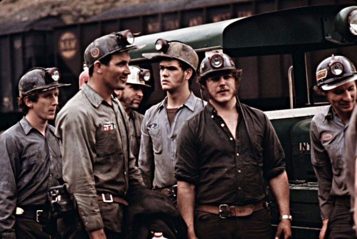 GROUP OF MINERS WAITING TO GO TO WORK ON THE 4 P.M. TO MIDNIGHT SHIFT AT THE VIRGINIA-POCAHONTAS COAL COMPANY MINE