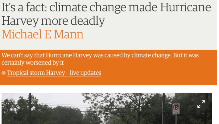 Michael Mann's claims that Harvey was caused by global
