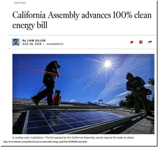 California Assembly advances pipe dream 100% clean