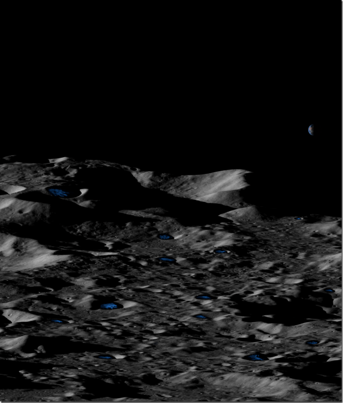 Conceptual illustration of permanently shadowed, shallow icy craters near the lunar south pole. Credits: UCLA/NASA