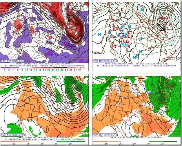 The weather maps are shown here at different levels of the atmosphere for the night of October 28th in 2008 which was the day after the rained-shortened World Series game in Philly and the day before the resumed game. On this particular day, very cold air surged into the Philly metro region on the heels of a strong coastal storm and several inches of snow actually accumulated in some suburban locations. Credit Penn State eWall (surface - upper right, 500 mb - upper left, 700 mb - lower left, 850 mb - lower right).
