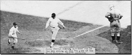 Washington's Bucky Harris scores on his home run in the fourth inning of Game 7 of the 1924 World Series. At right is New York Giants catcher Hank Gowdy. Courtesy National Photo Company (staff photo) - From the National Photo Company Collection (Library of Congress).