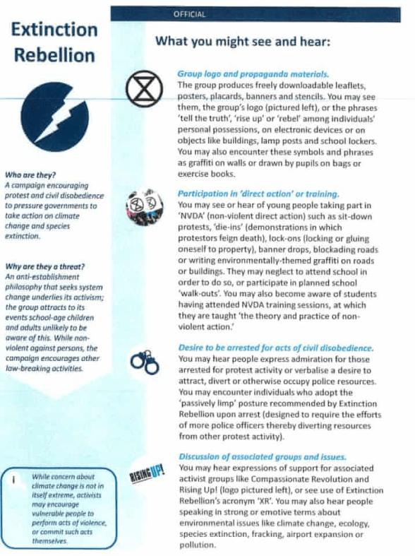 Extinction Rebellion Extremist Handbook Listing