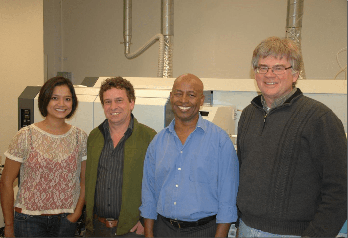 The University of New Mexico research team was led by Professor Yemane Asmerom (3rd from left) and included (l. to r.): Valorie Aquino, Keith Prufer and Victor Polyak. The team found contraction of the Intertropical Convergence Zone (ITCZ) during a warming Earth, leading in turn to drying of the Neotropics, including Central America. Credit: The University of New Mexico