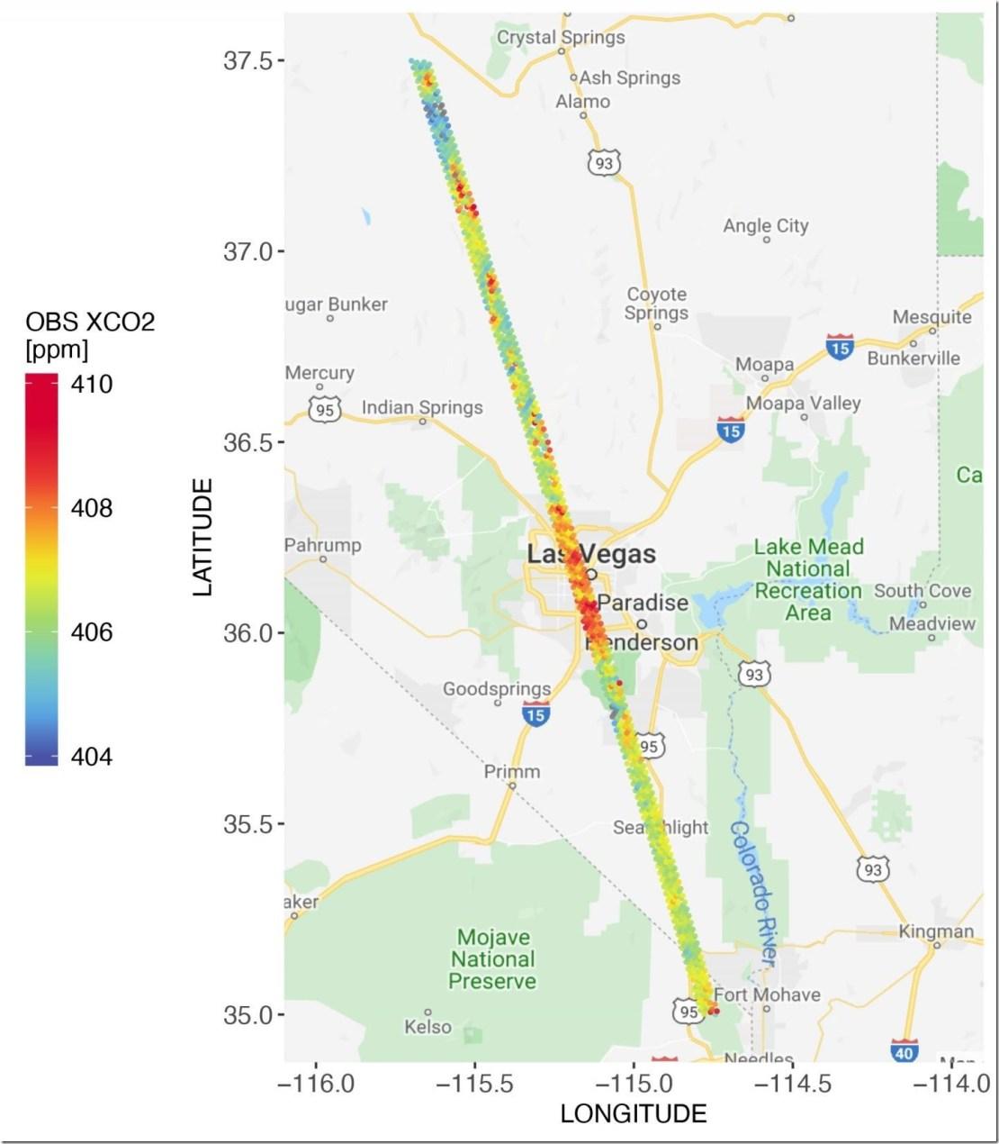 CO2 measurements from OCO-2 in parts per million over Las Vegas on Feb. 8, 2018.  Credit: Dien Wu/University of Utah