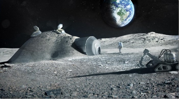 Future moon bases could be built with 3D printers that mix materials such as moon regolith, water and astronauts' Credit: ESA, Foster and Partners