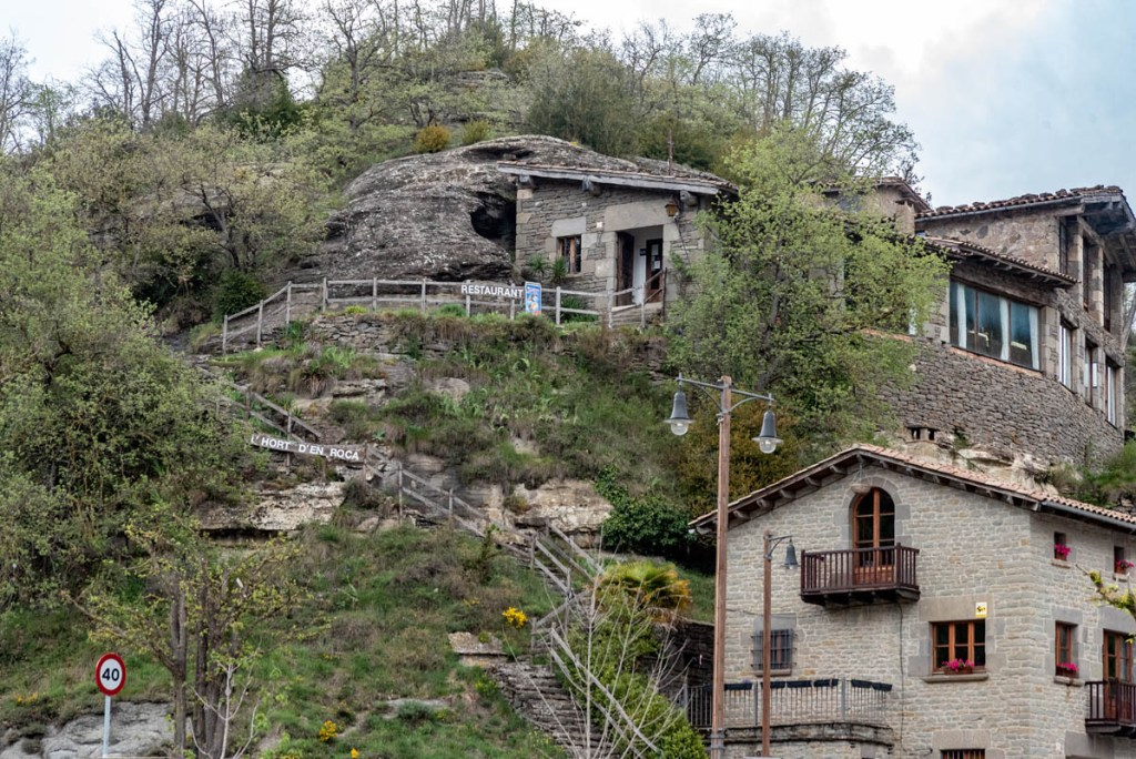 The hilltop restaurant at Rupit is like something out of the Flinstones
